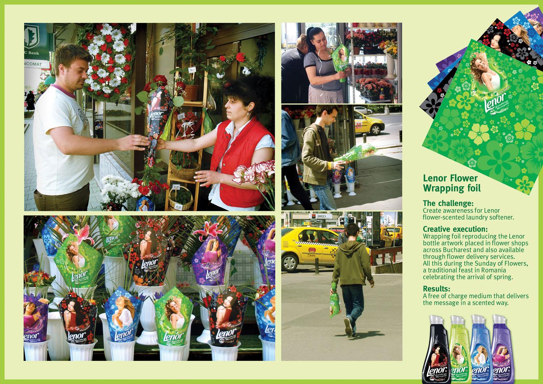 Lenor Flower Wrapping Foil Букеты ароматных цветов рекламируют ароматное моющее средство